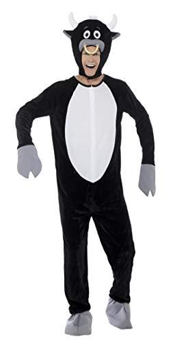 Smiffys 21007M - Unisex Deluxe Stier Kostüm, Jumpsuit und Kopfteil, Größe: M, schwarz
