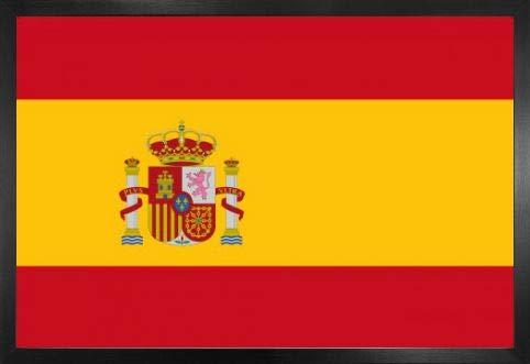 1art1 Spanien Poster und MDF-Rahmen - Flaggen Der Welt (91 x 61cm) -