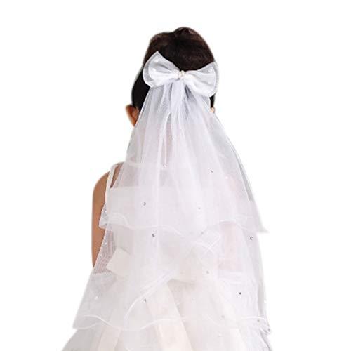 Erstkommunion Schleier Stirnbandbogenart- Weiß Mesh-Kind-Mädchen Brautschleier Kopfschmuck ()