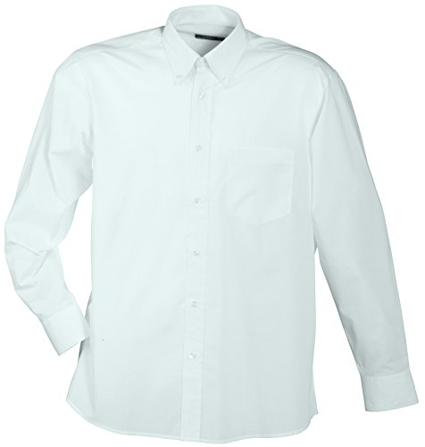 James & nicholson men's promotion shirt long-sleeved, camicia sportiva uomo, bianco, xxx-large