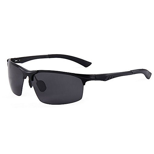 Ppy778 Premium Al-Mg-Legierung Aviator polarisierte Sonnenbrille UV400, voll verspiegelte Federscharniere Sonnenbrille für Männer Frauen (Color : Black)