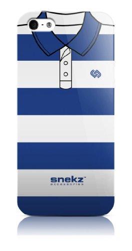 Snekz Coque brillante pour iPhone 5/5S Motif polo Muliticolour Five Bleu clair et blanc