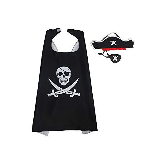 Kostüm Party Thema Piraten - song rong Kinder Pirate Cape Cartoon Piraten verkleiden Satin Cape Kinder-Kostüm-Set für Piraten-Thema-Geburtstags-Party-Halloween-Party Supplies Piraten und Maske 1 Sets