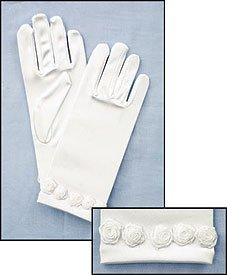 My Holy First Communion Dress Accessory Set of White Satin Gloves with Rosebud Trim by CB Rosebud Trim