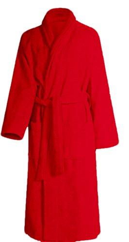 Bademantel, Saunamantel, 100% Baumwolle super flauschig und weich (XL/Herren, Rot)