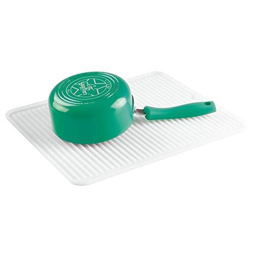 iDesign Abtropfmatte, große Spülbeckenmatte aus Silikon, gerillte Geschirrabtropfmatte für die Ablage von Besteck und Geschirr, durchsichtig