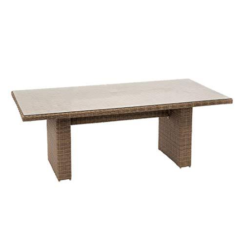 OUTLIV. Gartentisch Java Diningtisch 200x100cm Geflecht/Glas Outdoor Tisch