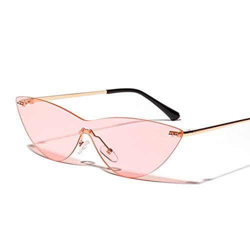 Chudanba Randlose Sonnenbrille Frauen Männer Cat Eye Sonnenbrille Mode Brille Famale Trendy Brillen,Rosa