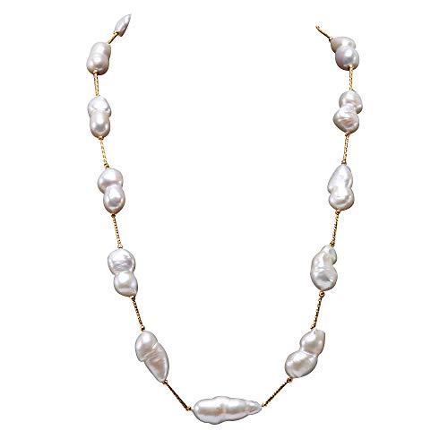 JYX Pearl AA barock perlenkette perlen barock Tin Cup Station Halskette Barockkultivierte weiße Süßwasser Zuchtperlen Halskette - Cup-halskette Tin