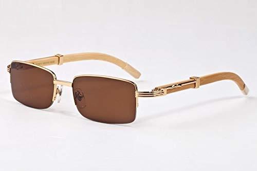 LKVNHP New Hochwertige Herren Sonnenbrille Marke Holz Sonnenbrille Für Mann Name Sonnenbrille Semi Randlose Rechteck Hohe Qualität Anti ReflektierendeGelb Braun