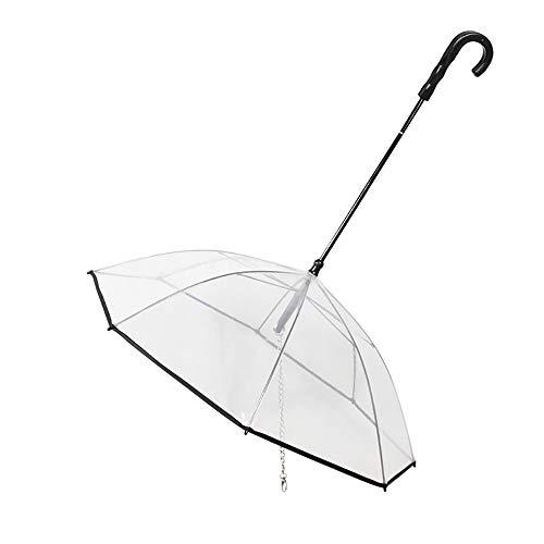 Gaodaweian Haustier-Regenschirm Transparenter Haustier-Hunderegenschirm mit Edelstahlleine und langem Griff für kleine, mittelgroße Hundekatzen -