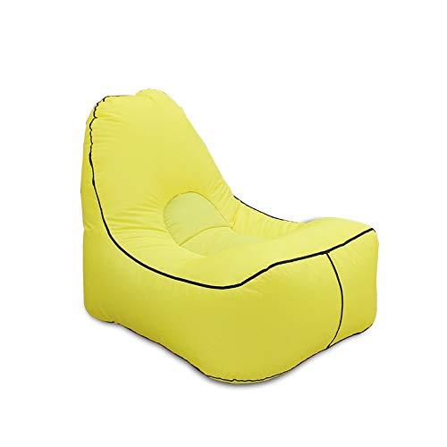 Sandgyrr Puff de pera Lazy Sofa Plegable Cama Individual Ocio Aire rápido Inflable sofá Silla Almuerzo Cama Plegable Cama Individual, Amarillo, 72X128Cm