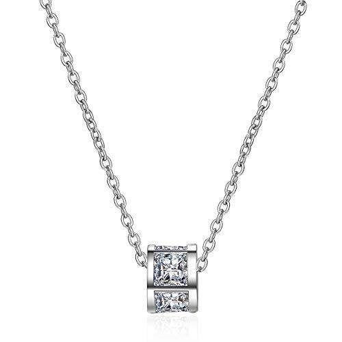 LLDXL Einfache Schwarze Zirkon Kleine Anhänger Schlüsselbein Chian Halskette 925 Sterling Silber HalsketteWeiß