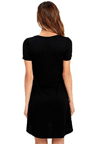 La vogue Damen Oversize T-Shirt Minikleid Bluse Lose Tops Schwarz