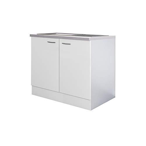 Flex-Well Spülenunterschrank UNNA | Spülenschrank mit Spüle und Arbeitplatte | Breite 100 cm | Weiß