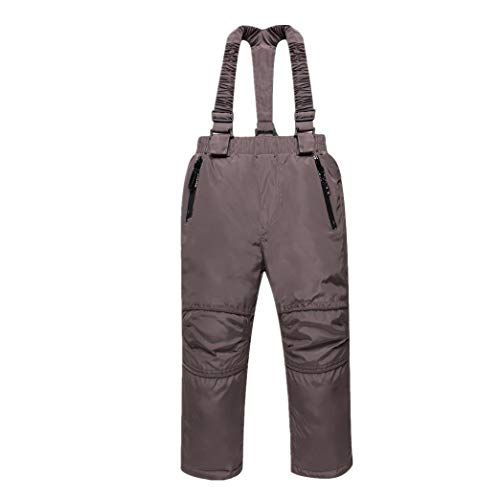 zhbotaolang Kind Winter Schnee Bib Pants - Kleinkind Hohe Taille Jungs Warme Overalls (140cm Kaffee)