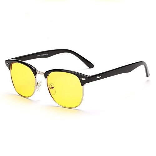 Yiph-Sunglass Sonnenbrillen Mode Nachtversion, die Gläser Blau Wanton Blocking Gläser für Computer Anti Eyestrain Objektiv Whippersnapper Brillen für Männer/Frauen fährt (Farbe : Schwarz)