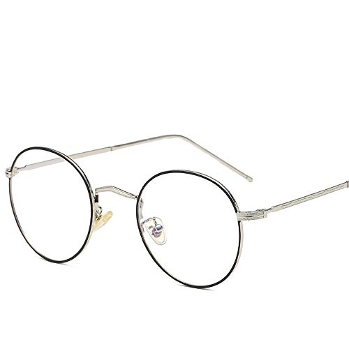 Gläser Runde Sonnenbrille Runde Sonnenbrille Runde Mode Runde Brille UV Cut Leichter Kreuz & Brillenetui (Color : Black+Sliver, Size : Kostenlos)