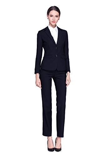Karriere-hosen-anzug (Rojeam Damen Elegant Business Hosenanzuge Slim Fit Blazer Shirt Reverskragen Karriere Hosen Rock Anzug Set)