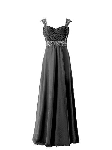 JAEDEN Femmes Mousseline de soie Robes de demoiselles d'honneur Longue Robe de bal Robe de soir¨¦e Noir