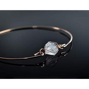 Rosé vergoldeter Armreif mit Herkimer Diamant