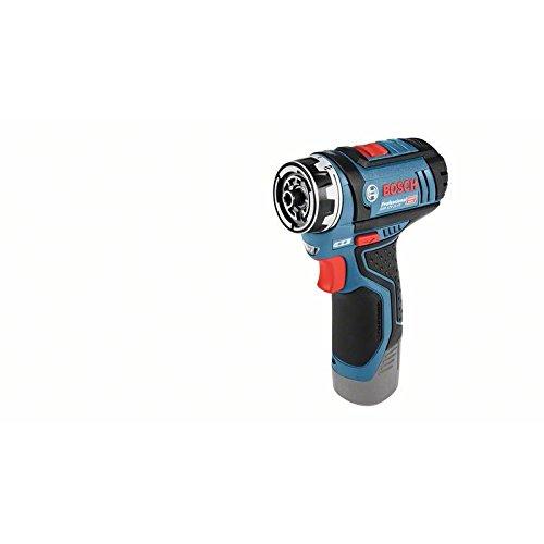 """Bosch GSR 12V-15 FC Professional Bohrmaschine mit Pistolengriff Schwarz, Blau Lithium-Ionen-Akku (Li-Ion) 600g–Kabellose Kombi-Bohrmaschine (Bohrmaschine mit Pistolengriff, Bohrer, Schraubendreher, Schwarz, Blau, 1/4\"""", 7mm, 3cm)"""