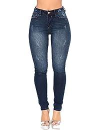 Pantalones Vaqueros Rotos Cintura Alto para Mujer Invierno  Primavera d40c7452cd6b