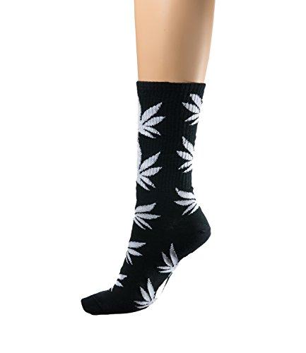 Für Weed-socken Männer (Socken Ganja Blatt Einmalige Anlage Weed Blatt drucken Unisex Baumwolle hohe Crew Athletische Rasta MFAZ Morefaz Ltd (Socks Black White))