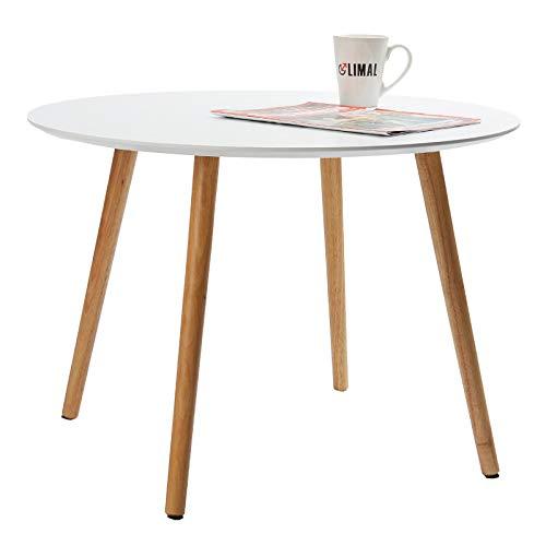 LIMAL Couchtisch Wohnzimmertisch rund Weiß Braun 67 x 67 x 48 cm - Runde Sessel