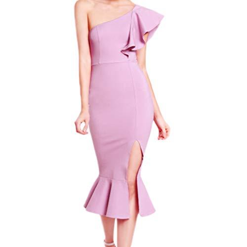 Beikoard Damen One-Shoulder Bleistift-Kleid Sexy Cocktailkleid Partykleid Club Rüsche Meerjungfrau Kleid Elegant - Violett Pailletten Flapper Kostüm