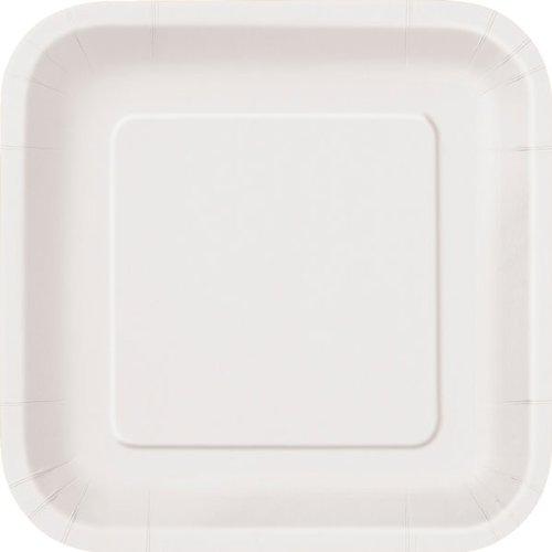 Lot de 14 assiettes en carton carrées Blanc 9 \