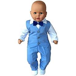 Fantasma - Ropa de bautizo - para bebé niño azul, blanco 62 cm/68 cm