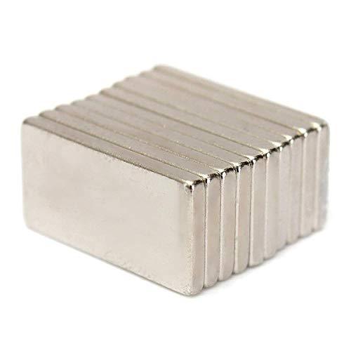 Pictech 10 imanes de neodimio N52 de 20 x 10 x 2 mm