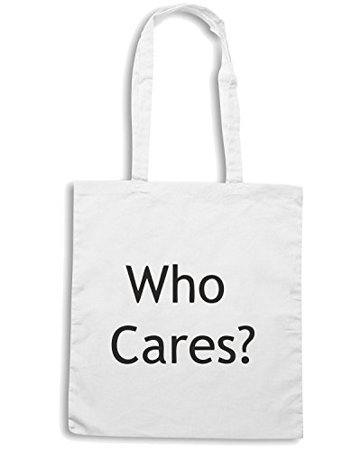 T-Shirtshock - Borsa Shopping TDM00301 who cares Bianco