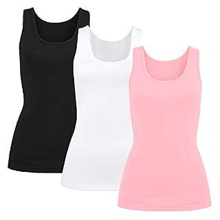 Damen T-Shirt Unterhemd BH-Shirt m. Einlage vorgeformt(Schwarz/weiß/rosa, L)