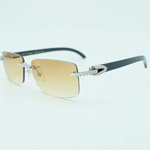 LKVNHP New Strass Platz Sonnenbrille Holz 3Mm Diamant Carter Sonnenbrille Mode Herren Randlose Sonnenbrille Schatten BrillenSchwarz Buffalo Silber