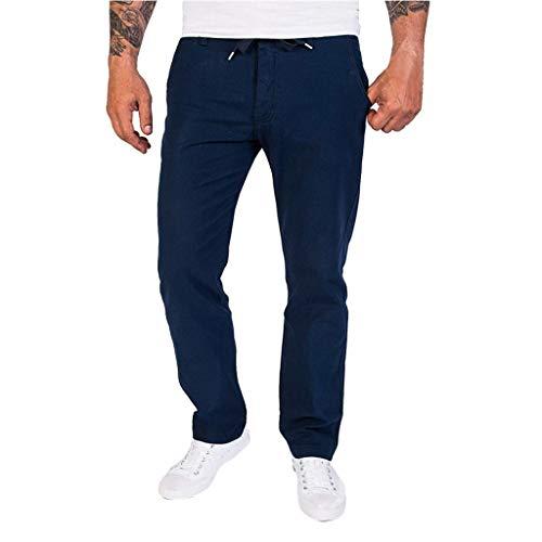 Routinfly pantaloni da lavoro casual da uomo, pantaloni con tasche in lino pantaloni cargo uomo sportivi pantalone calzoni all'aperto casual slim fit pantaloni (m, marina militare)