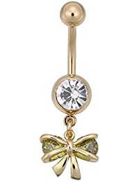 Zibuyu Personalized Butterfly Belly Ring Delicate Zircon Navel Ring (Green)