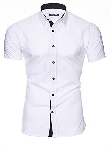 KAYHAN Homme Chemise Slim Fit Repassage facile, Manches courte Modell - White Florida - Medium