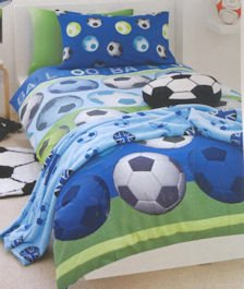 Price comparison product image Football Blue Double Bed Duvet Quilt Cover