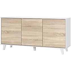 Aparador Buffet salón Comedor 3 Puertas, Color Blanco Brillo y Roble Canadian, Medidas: 154 x 75 x 41 cm de Fondo.