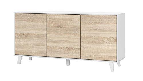Habitdesign 0F6638BO - Aparador Buffet salón Comedor 3 Puertas, Color Blanco Brillo y Roble Canadian, Medidas: 154 x 75 x 41 cm de Fondo.
