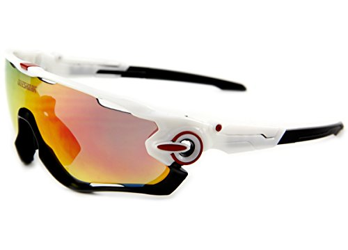 Queshark TR90 Frame Polarized Cycling Sunglasses For Men Women Sports 3 Lens (White Black)