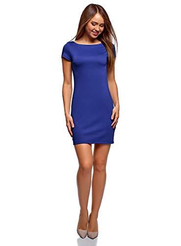 oodji Ultra Mujer Vestido de Punto con Escote Barco, Azul, ES 40 / M