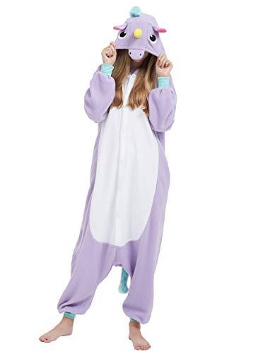 Kigurumi Pijama Animal Entero Unisex para Adultos con Capucha Cosplay Pyjamas Unicornio Púrpura Ropa de Dormir Traje de Disfraz para Festival de Carnaval Halloween Navidad