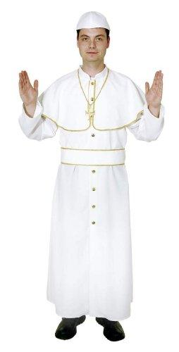 Kostüm: Papst-Gewand mit Mütze, weiß, Erwachsenen-Größe:58/60