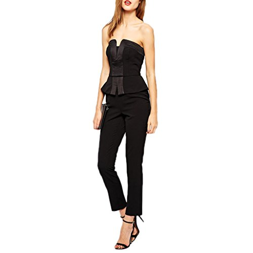 ABILIO – Tuta fascia donna elegante overall balza nera jumpsuit peplum donna rompers