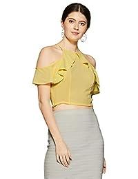 d6ecce1f7fe687 Veni VIDI VICI Yellow Frilled Cold Shoulder Crop Top