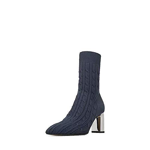 Winter Medium Tube elastische Wolle Stricken Socken Stiefel hohen Absatz wies Frauen Kurze Stiefel, Balck, 35 ()