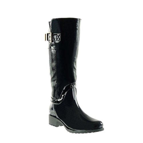 Angkorly Damen Schuhe Stiefel - Reitstiefel - Kavalier - Biker - Gummistiefel - Schlangenhaut - String Tanga - Schleife Blockabsatz High Heel 3.5 cm Schwarz